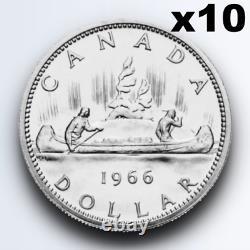 10x Canada Voyageur Silver Dollar Queen Elizabeth Ii. 800 Silver Coin Canadian