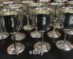 12 Amazing Reed & Barton Queen Elizabeth Sterling Silver Wine Goblets H121