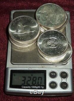 14 GEM QUEEN ELIZABETH II CANADA. 800 SILVER $1 COINS 1963 -1967 328 Gms TW