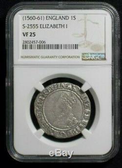 1560 Great Britain, England, UK, Queen Elizabeth I Silver Shilling NGC VF25