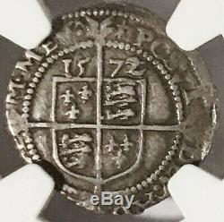 1572 English 3 Pence Queen Elizabeth I, NGC XF45, Problem Free, Rare This Nice