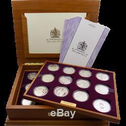15x UK Royal Mint Queen Elizabeth II Golden Jubilee Silver Crown Collection case