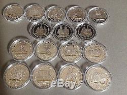 16 X 1. Oz, 925 Silver Proofs, Queen Elizabeth 11 & Phillip Diamond Wedding 2007