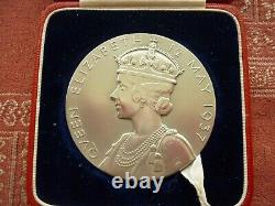 1937 George VI & Queen Elizabeth Silver Coronation Medal Large size 56mm. Boxed