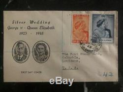1948 Barbados FDC first day cover George VI & Queen Elizabeth Silver Wedding