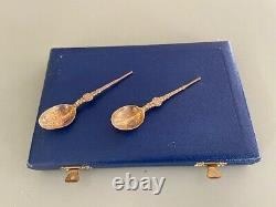 1952 Queen Elizabeth II Sterling Silver Coronation Anointing Spoon Set Cased 3+