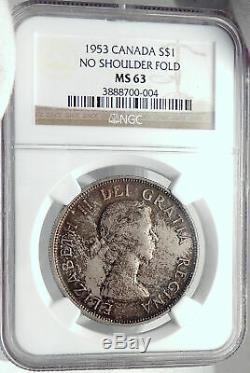 1953 CANADA UK Queen Elizabeth II Canoe Large OLD Silver Dollar Coin NGC i82349