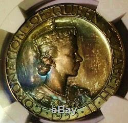 1953 Queen Elizabeth II Coronation Silver Medal NGC MS 65 Gold, Neon Blue Toning