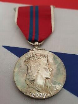 1953 Queen Elizabeth II Solid 925 Silver Coronation Medal Boxed Military Issue