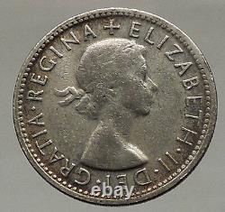 1954 AUSTRALIA Queen Elizabeth II United Kingdom Silver Shilling Coin RAM i57055