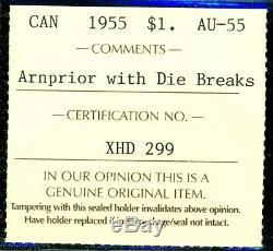 1955Arnprior WithDB Canada Queen Elizabeth II Silver Dollar, ICCS Certified AU-55