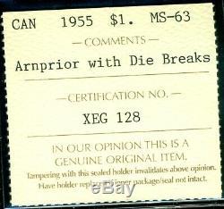 1955 Arn. WithDB Canada Queen Elizabeth II Silver Dollar, ICCS MS-63 XEG 128