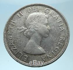 1955 CANADA w UK Queen Elizabeth II Voyagers Genuine Silver Dollar Coin i77912