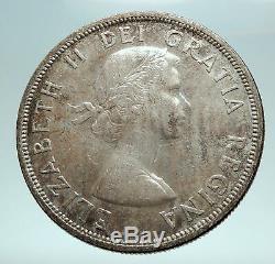 1956 CANADA w UK Queen Elizabeth II Voyagers Genuine Silver Dollar Coin i82562