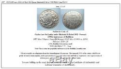 1957 CEYLON now SRI LANKA UK Queen Elizabeth II Silver 5 RUPEES Coin i72443