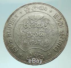 1957 CEYLON now SRI LANKA UK Queen Elizabeth II Silver 5 RUPEES Coin i75895