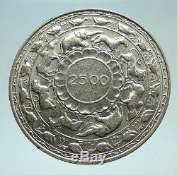 1957 CEYLON now SRI LANKA UK Queen Elizabeth II Silver 5 RUPEES Coin i76634