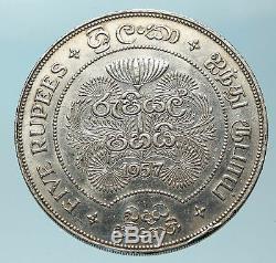 1957 CEYLON now SRI LANKA UK Queen Elizabeth II Silver 5 RUPEES Coin i83779