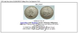 1958 South Africa Queen ELIZABETH II 5 Shillings Silver Coin Springbok i76894