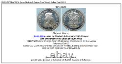 1960 SOUTH AFRICA Queen Elizabeth II Antique Proof Silver 2 Shilling Coin i82816