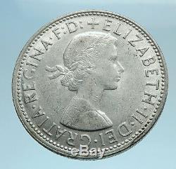 1962 AUSTRALIA UK Queen Elizabeth II SILVER FLORIN Coat-of-Arms Coin i77707