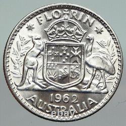 1962 AUSTRALIA UK Queen Elizabeth II SILVER FLORIN Coat-of-Arms Coin i91210