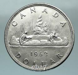 1962 CANADA w UK Queen Elizabeth II Voyagers Genuine Silver Dollar Coin i84588