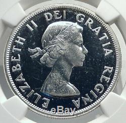 1963 CANADA UK Queen Elizabeth II Canoe Large Silver Dollar Coin NGC i77263