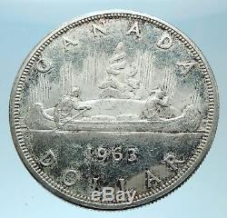 1963 CANADA w UK Queen Elizabeth II Voyagers Genuine Silver Dollar Coin i77913