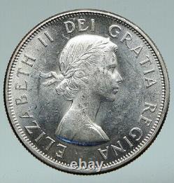 1964 CANADA Queen Elizabeth II Arms Crown VINTAGE SILVER 50 Cents Coin i91039