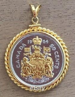 1964 Queen Elizabeth II Fifty Cent Coin Necklace Pendant with Gold Embellishment