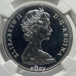 1965 CANADA UK Queen Elizabeth II Canoe Large Silver Dollar Coin NGC i77255