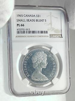 1965 CANADA UK Queen Elizabeth II Canoe Large Silver Dollar Coin NGC i77270
