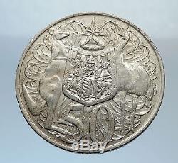 1966 AUSTRALIA UK Queen Elizabeth II SILVER 50 cents Coat-of-Arms Coin i71632