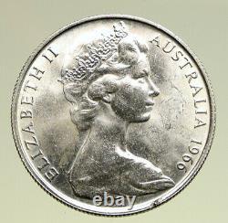 1966 AUSTRALIA UK Queen Elizabeth II with Kangaroos Silver 50 Cents Coin i94969