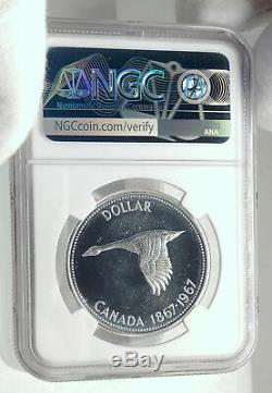 1967 CANADA UK Queen Elizabeth II Canoe Large Silver Dollar Coin NGC i77266