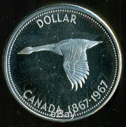 1967 Canada Queen Elizabeth II Silver Dollar, ICCS PL-65 HC Diving Goose