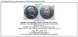 1967 GIBRALTAR UK Queen Elizabeth II Silver CASTLE OLD Proof Crown Coin i85836