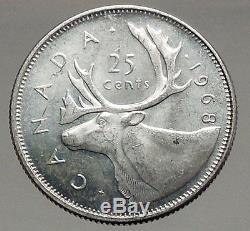1968 CANADA United Kingdom Queen Elizabeth II Silver 25 Cent Coin CARIBOU i56667