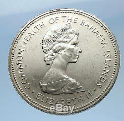1972 BAHAMAS Silver Coin 50 Cents UK Queen Elizabeth II and Marlin FISH i69614