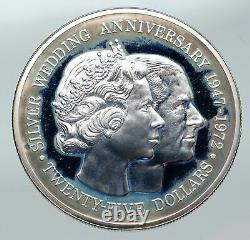 1972 CAYMAN ISLANDS UK Queen Elizabeth II Proof Silver Wedding $25 Coin i85739