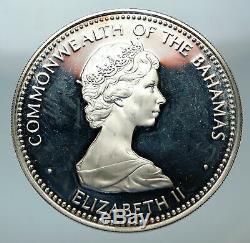 1973 BAHAMAS UK Queen Elizabeth II Ship SANTA MARIA Proof Silver $10 Coin i84414