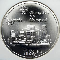 1973 CANADA Queen Elizabeth II Olympics Montreal City Silver $10 Coin NGC i85360