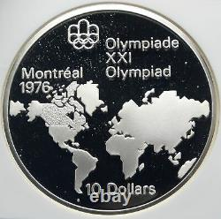 1973 CANADA Queen Elizabeth II Olympics Montreal Map Silver 10 Coin NGC i85465