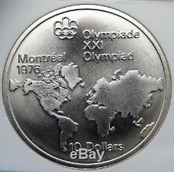 1973 CANADA Queen Elizabeth II Olympics Montreal WORLDMAP Silver NGC Coin i85244