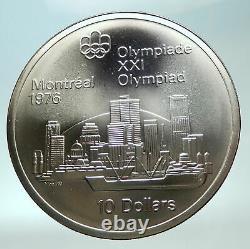 1973 CANADA UK Queen Elizabeth II Olympics Montreal City Silver $10 Coin i82285