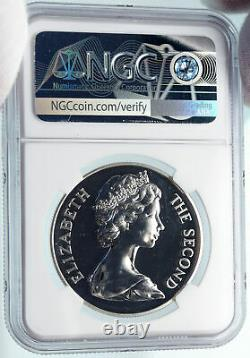 1973 SAINT HELENA United Kingdom QUEEN ELIZABETH II Silver 25 Pn Coin NGC i85054