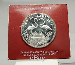 1973 The BAHAMAS Queen Elizabeth II FLAMINGO Genuine Proof Silver $2 Coin i76361