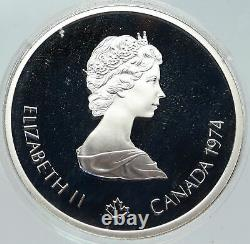 1974 CANADA Queen Elizabeth II Olympics Montreal Cycle OLD Silver 10 Coin i86247