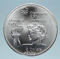 1974 CANADA Queen Elizabeth II Olympics Montreal TORCH HOLDER Silver Coin i83107